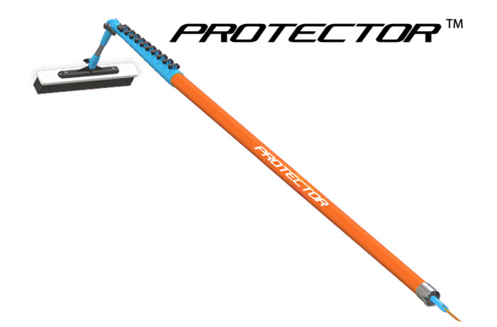 The PROTECTORTM pole handle is a safety focussed option that can be added to Ionic's new (Vertigo), and existing (Grafter, Glyder, Swift) ranges of waterfed poles, in place of the standard handle section